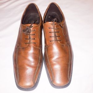 Ecco Mens Brown Leather Bicycle Toe Oxfords Shoes
